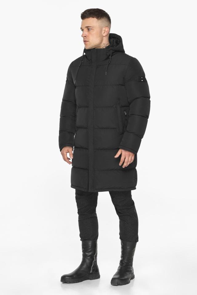 """Мужская чёрная куртка на зиму со съёмным капюшоном модель 49609 Braggart """"Dress Code"""" фото 5"""