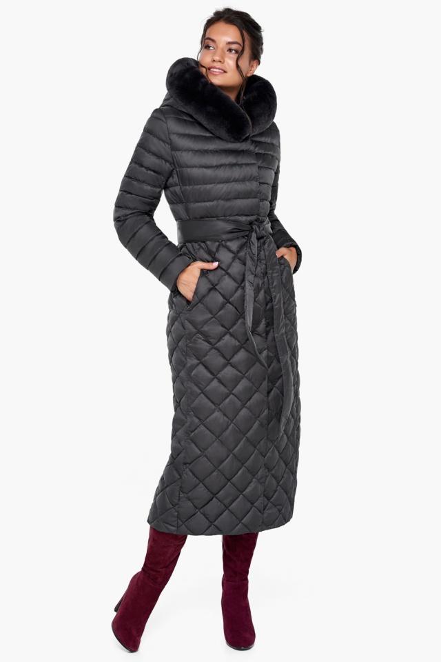Женская куртка графитовая на зиму модель 31012