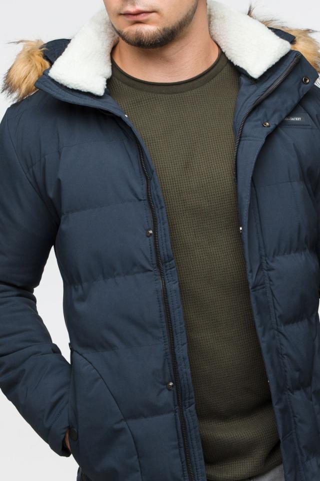 """Темно-синяя куртка зимняя мужская с ветрозащитным клапаном модель 25780 Braggart """"Youth"""" фото 9"""