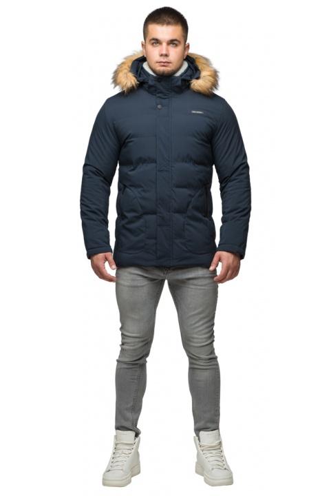 """Темно-синяя куртка зимняя мужская с ветрозащитным клапаном модель 25780 Braggart """"Youth"""" фото 1"""