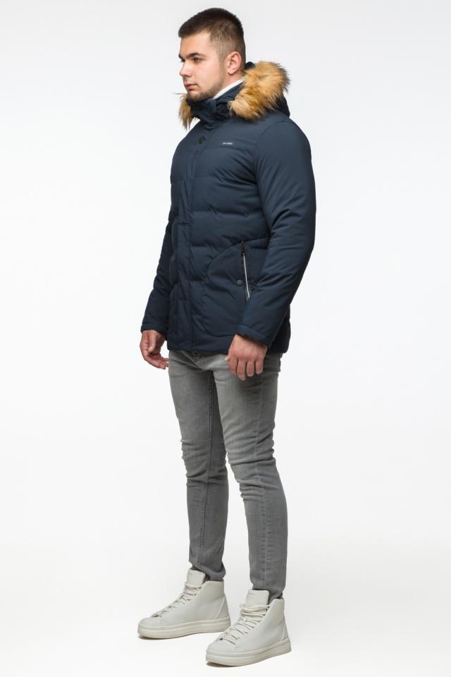 """Темно-синяя куртка зимняя мужская с ветрозащитным клапаном модель 25780 Braggart """"Youth"""" фото 4"""