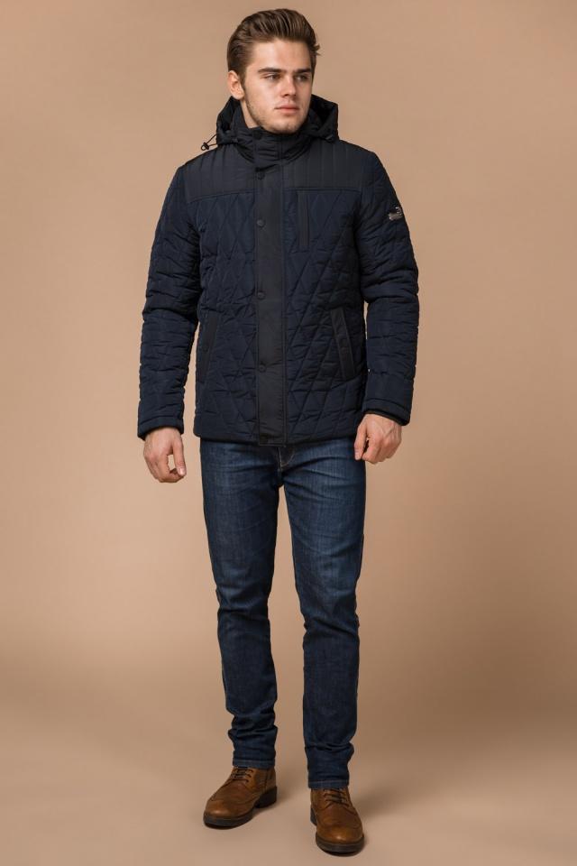 Мужская зимняя куртка синего цвета короткая модель 30538