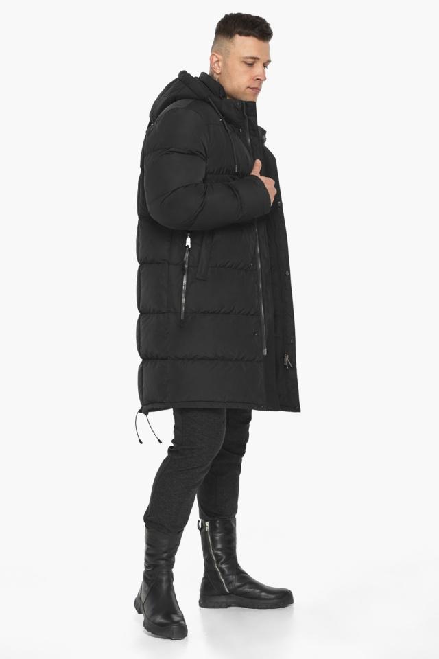 """Мужская чёрная куртка на зиму со съёмным капюшоном модель 49609 Braggart """"Dress Code"""" фото 6"""