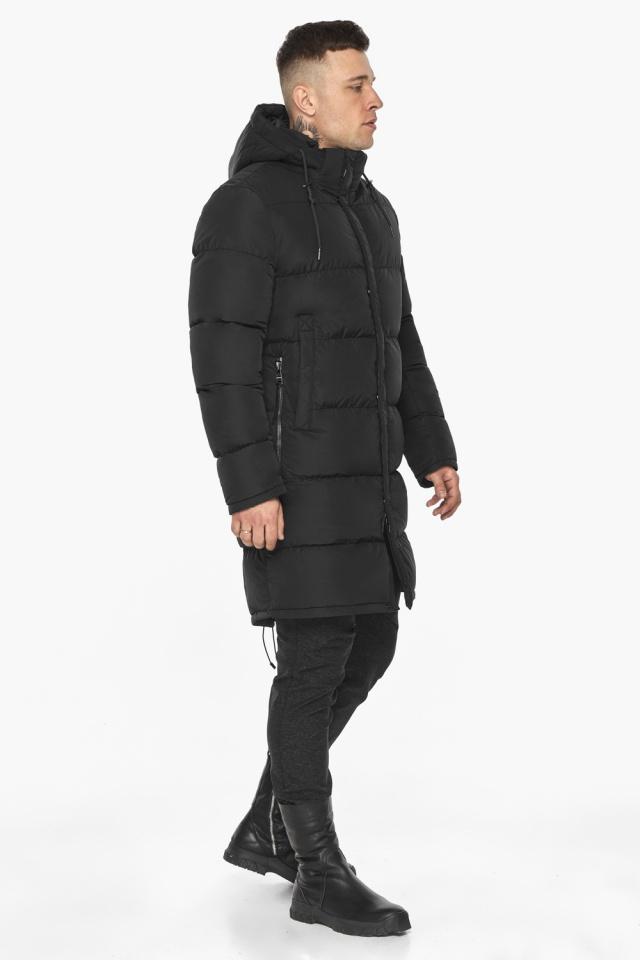 """Мужская чёрная куртка на зиму со съёмным капюшоном модель 49609 Braggart """"Dress Code"""" фото 7"""