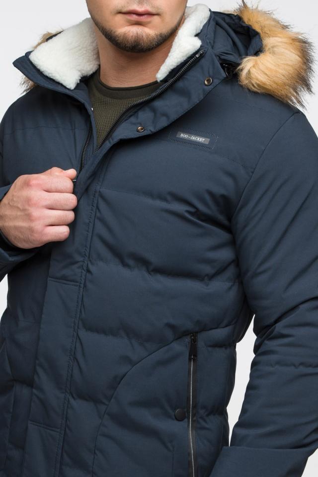 """Темно-синяя куртка зимняя мужская с ветрозащитным клапаном модель 25780 Braggart """"Youth"""" фото 8"""