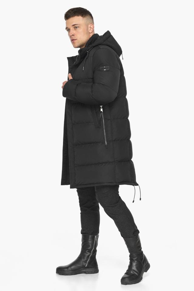 """Мужская чёрная куртка на зиму со съёмным капюшоном модель 49609 Braggart """"Dress Code"""" фото 4"""