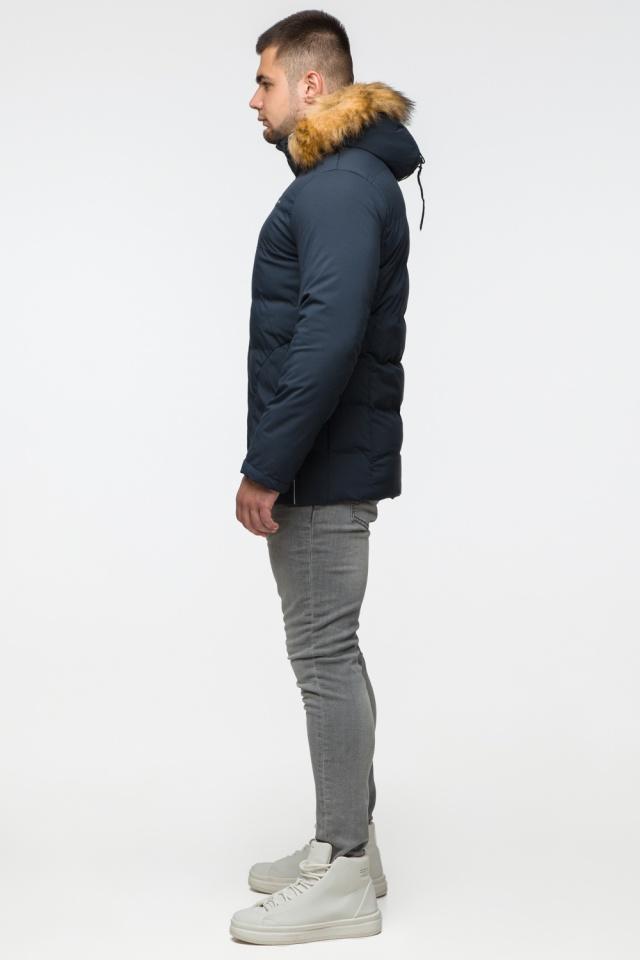 """Темно-синяя куртка зимняя мужская с ветрозащитным клапаном модель 25780 Braggart """"Youth"""" фото 5"""
