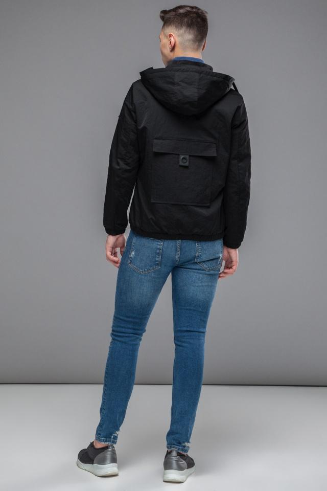 Черная мужская молодежная осенне-весенняя ветровка модель 38399