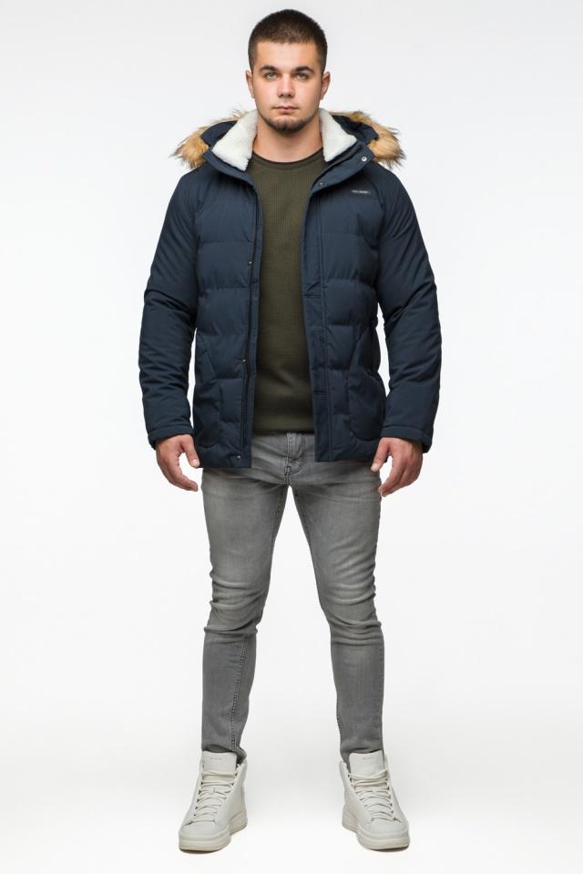 """Темно-синяя куртка зимняя мужская с ветрозащитным клапаном модель 25780 Braggart """"Youth"""" фото 2"""
