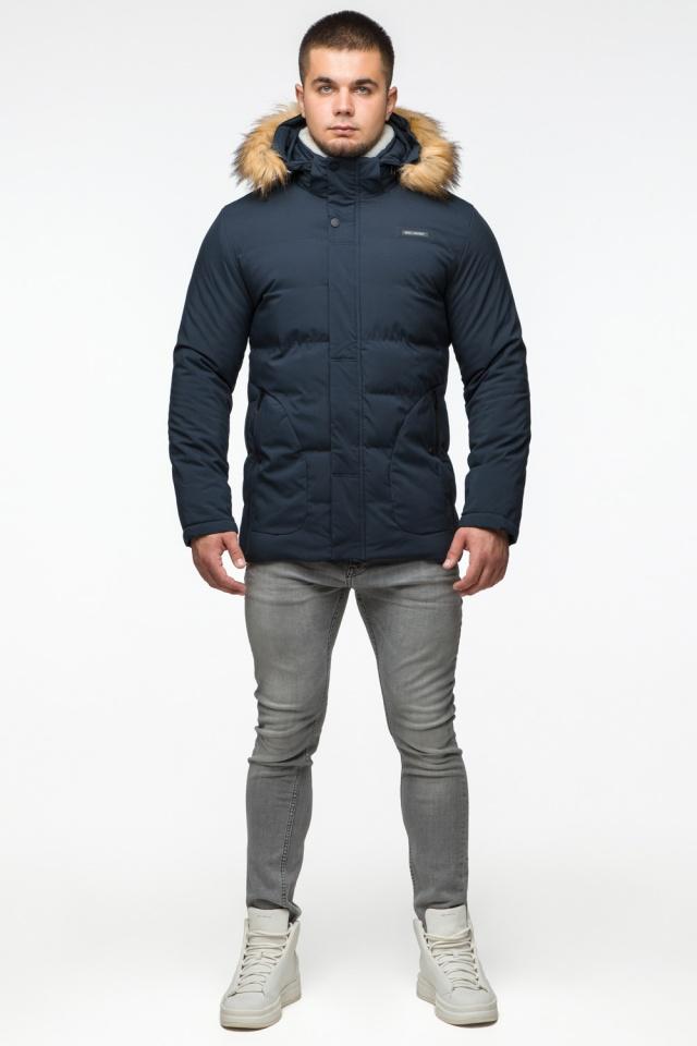 """Темно-синяя куртка зимняя мужская с ветрозащитным клапаном модель 25780 Braggart """"Youth"""" фото 3"""