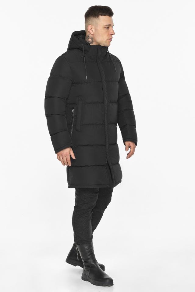 """Мужская чёрная куртка на зиму со съёмным капюшоном модель 49609 Braggart """"Dress Code"""" фото 2"""