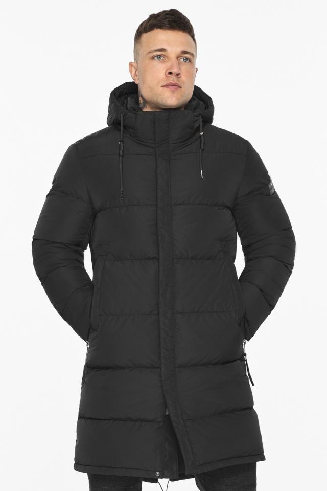 """Мужская чёрная куртка на зиму со съёмным капюшоном модель 49609 Braggart """"Dress Code"""" фото 3"""