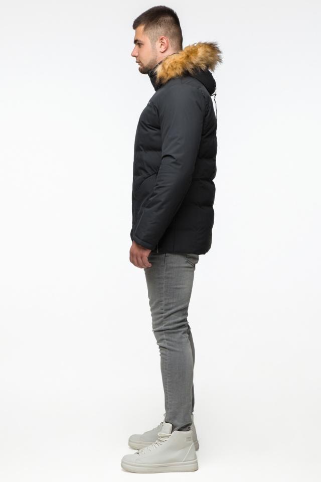 "Черная куртка зимняя мужская с карманами модель 25780 Braggart ""Youth"" фото 5"