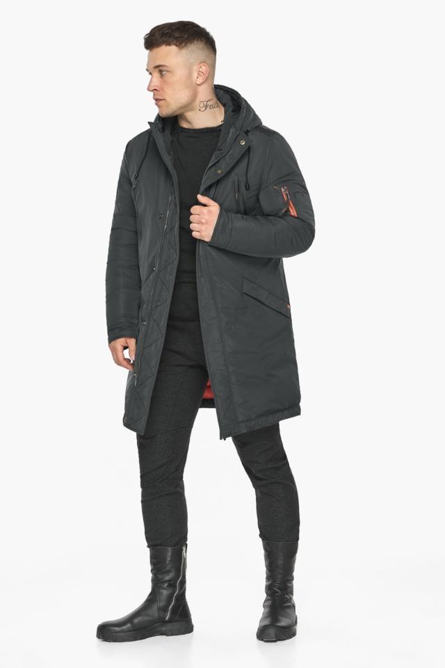 """Куртка – воздуховик мужской графитово-синий стильный зимний модель 30816 Braggart """"Angel's Fluff Man"""" фото 3"""