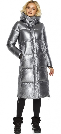 """Куртка с капюшоном женская цвет серебро модель 42650 Braggart """"Angel's Fluff"""" фото 1"""