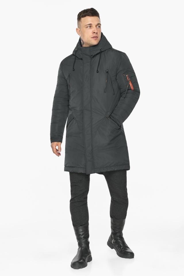 """Куртка – воздуховик мужской графитово-синий стильный зимний модель 30816 Braggart """"Angel's Fluff Man"""" фото 2"""