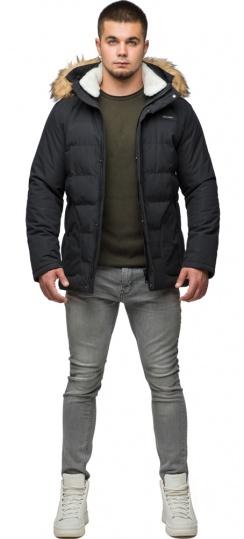 "Чорна куртка зимова чоловіча з кишенями модель 25780 Braggart ""Youth"" фото 1"