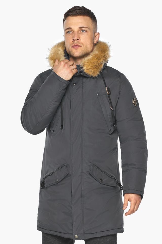 """Куртка – воздуховик зимний свободного силуэта мужской графитовый модель 30618 Braggart """"Angel's Fluff Man"""" фото 4"""