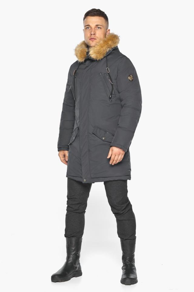 """Куртка – воздуховик зимний свободного силуэта мужской графитовый модель 30618 Braggart """"Angel's Fluff Man"""" фото 8"""