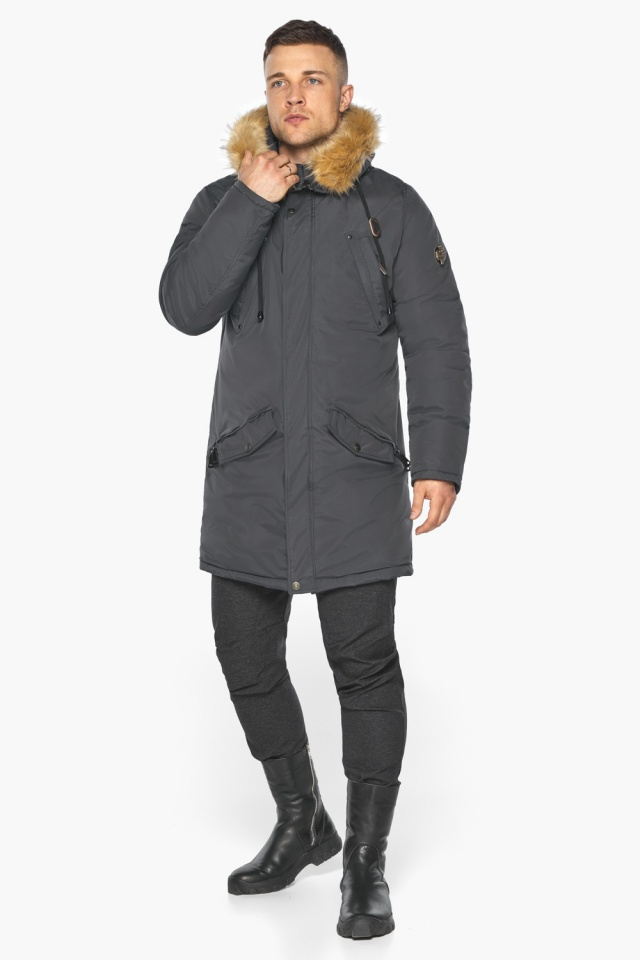 """Куртка – воздуховик зимний свободного силуэта мужской графитовый модель 30618 Braggart """"Angel's Fluff Man"""" фото 7"""