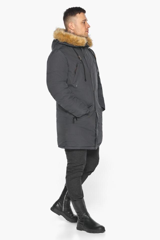 """Куртка – воздуховик зимний свободного силуэта мужской графитовый модель 30618 Braggart """"Angel's Fluff Man"""" фото 6"""