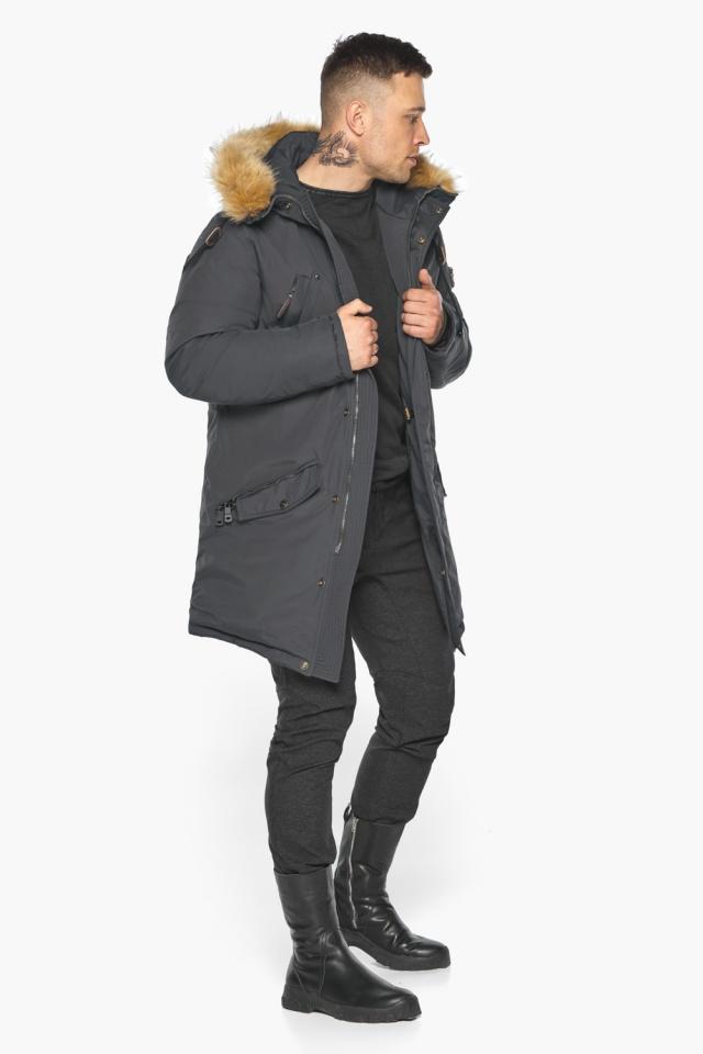 """Куртка – воздуховик зимний свободного силуэта мужской графитовый модель 30618 Braggart """"Angel's Fluff Man"""" фото 3"""