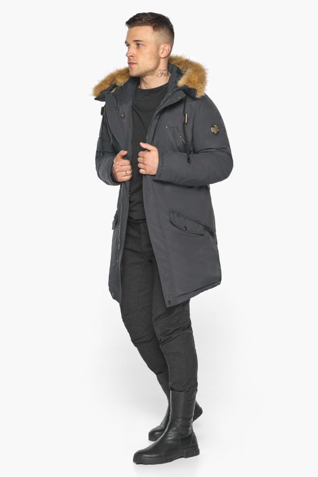 """Куртка – воздуховик зимний свободного силуэта мужской графитовый модель 30618 Braggart """"Angel's Fluff Man"""" фото 5"""