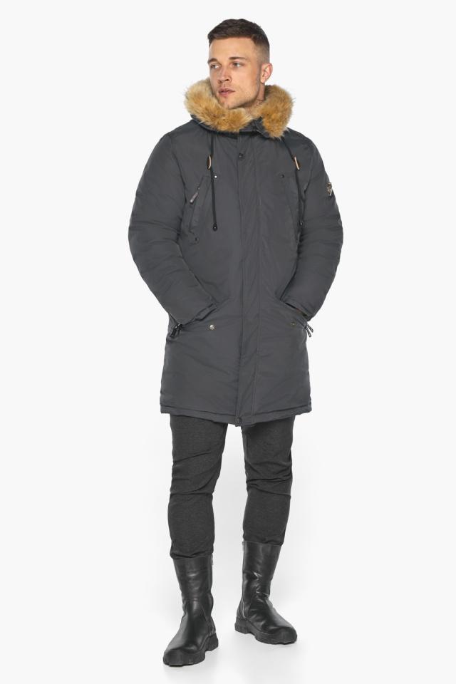 """Куртка – воздуховик зимний свободного силуэта мужской графитовый модель 30618 Braggart """"Angel's Fluff Man"""" фото 2"""
