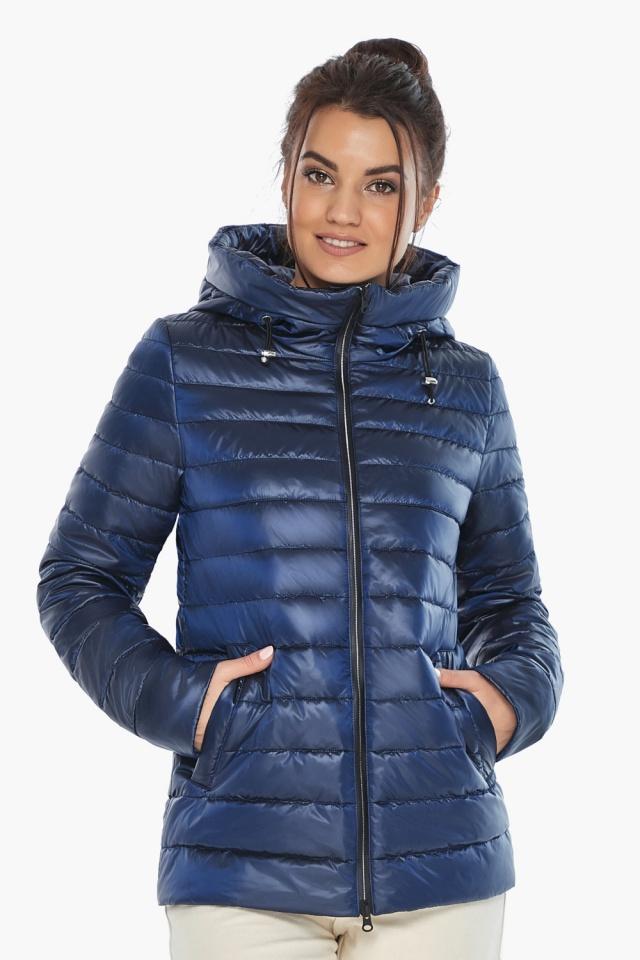 """Куртка с вшитым капюшоном женская осенне-весенняя сапфировая модель 68240 Braggart """"Angel's Fluff"""" фото 5"""