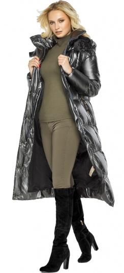 """Женская куртка с карманами цвет темное серебро модель 42830 Braggart """"Angel's Fluff"""" фото 1"""
