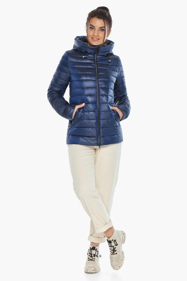 """Куртка с вшитым капюшоном женская осенне-весенняя сапфировая модель 68240 Braggart """"Angel's Fluff"""" фото 2"""