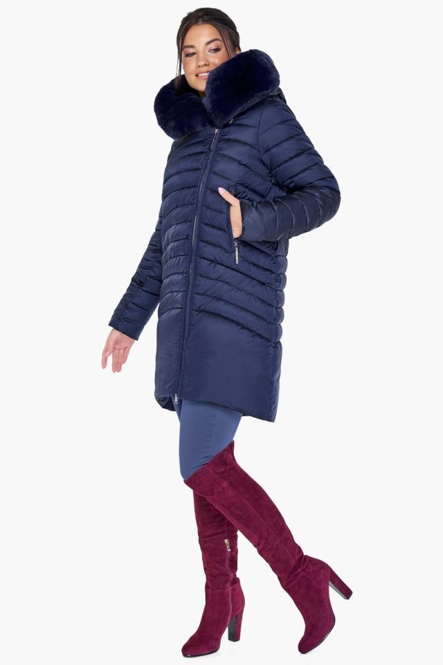 Куртка качественная синяя на зиму женская модель 31038