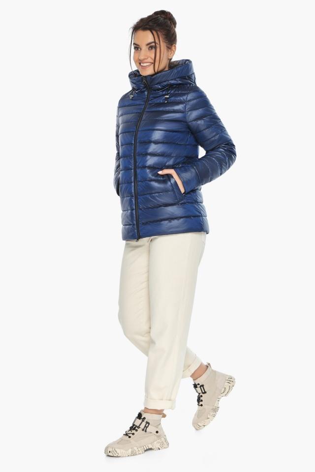 """Куртка с вшитым капюшоном женская осенне-весенняя сапфировая модель 68240 Braggart """"Angel's Fluff"""" фото 4"""