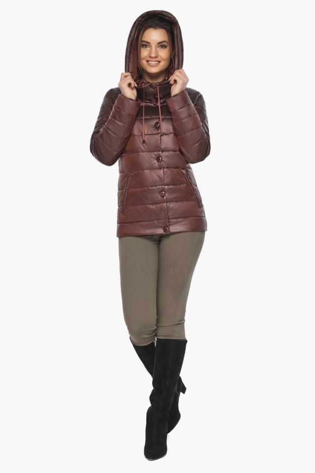 """Каштановая женская куртка осенне-весенняя практичная модель 61030 Braggart """"Angel's Fluff"""" фото 3"""