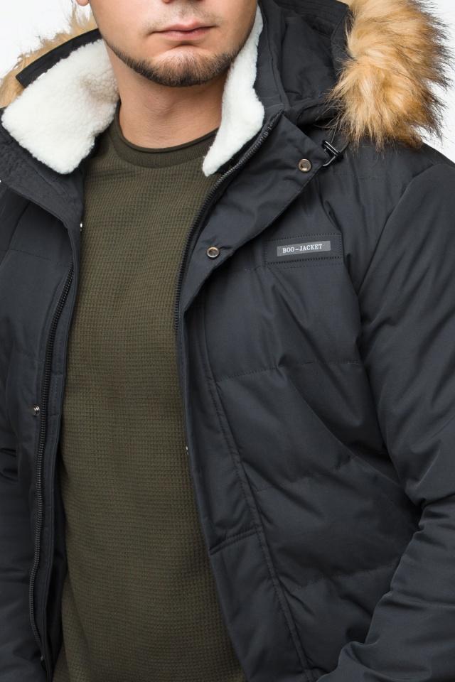 """Черная куртка мужская молодежная зимняя с воротником модель 25780 Braggart """"Youth"""" фото 9"""