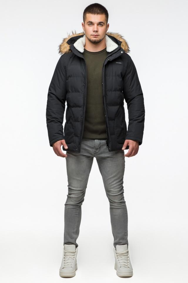 Черная куртка мужская молодежная зимняя с воротником модель 25780