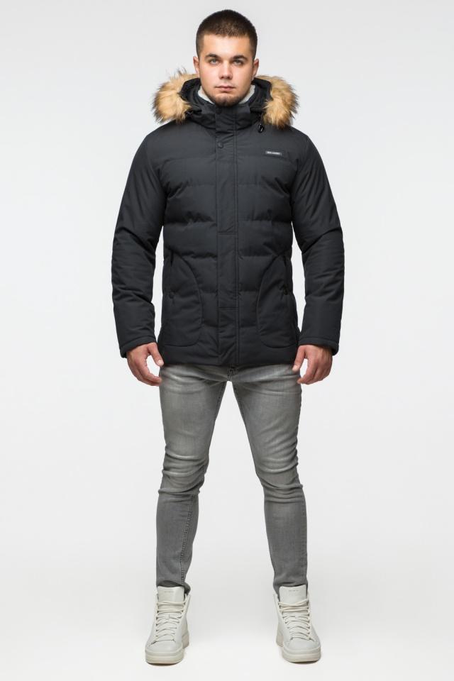 "Модная тёплая куртка на мальчика чёрная модель 25780 Braggart ""Youth"" фото 2"