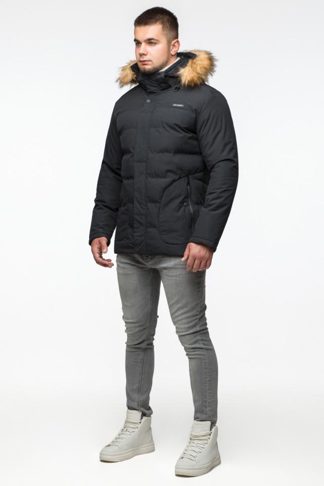 "Модная тёплая куртка на мальчика чёрная модель 25780 Braggart ""Youth"" фото 4"