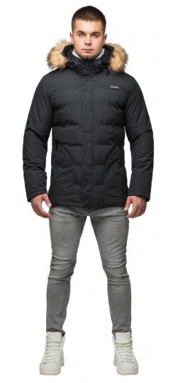 "Модная тёплая куртка на мальчика чёрная модель 25780 Braggart ""Youth"" фото 1"