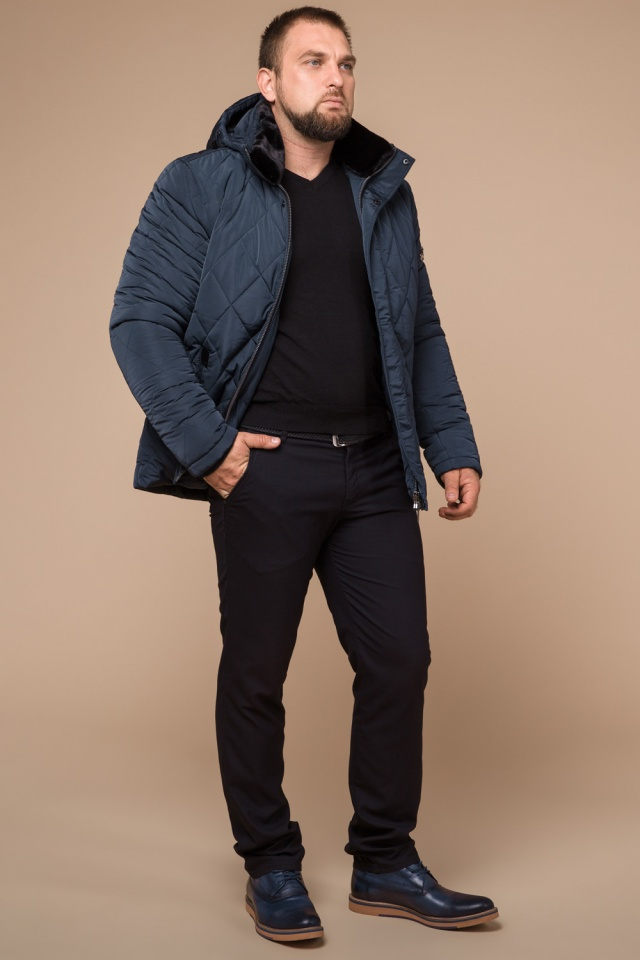"Светло-синяя зимняя теплая куртка для мужчин модель 19121 Braggart ""Dress Code"" фото 3"