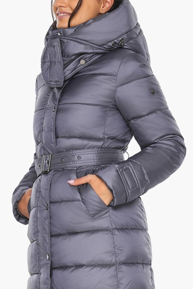 """Жемчужно-серая куртка с манжетами женская модель 43110 Braggart """"Angel's Fluff"""" фото 8"""