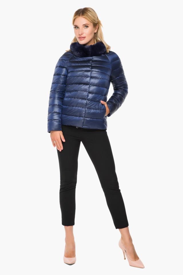 """Короткая женская осенне-весенняя куртка сапфировая модель 40267 Braggart """"Angel's Fluff"""" фото 3"""