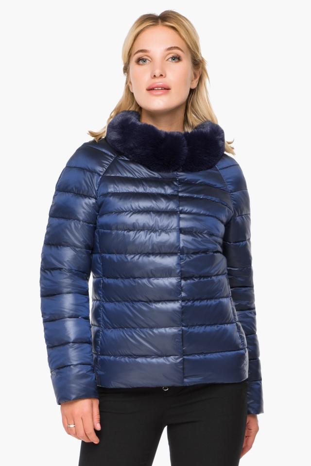 """Короткая женская осенне-весенняя куртка сапфировая модель 40267 Braggart """"Angel's Fluff"""" фото 4"""