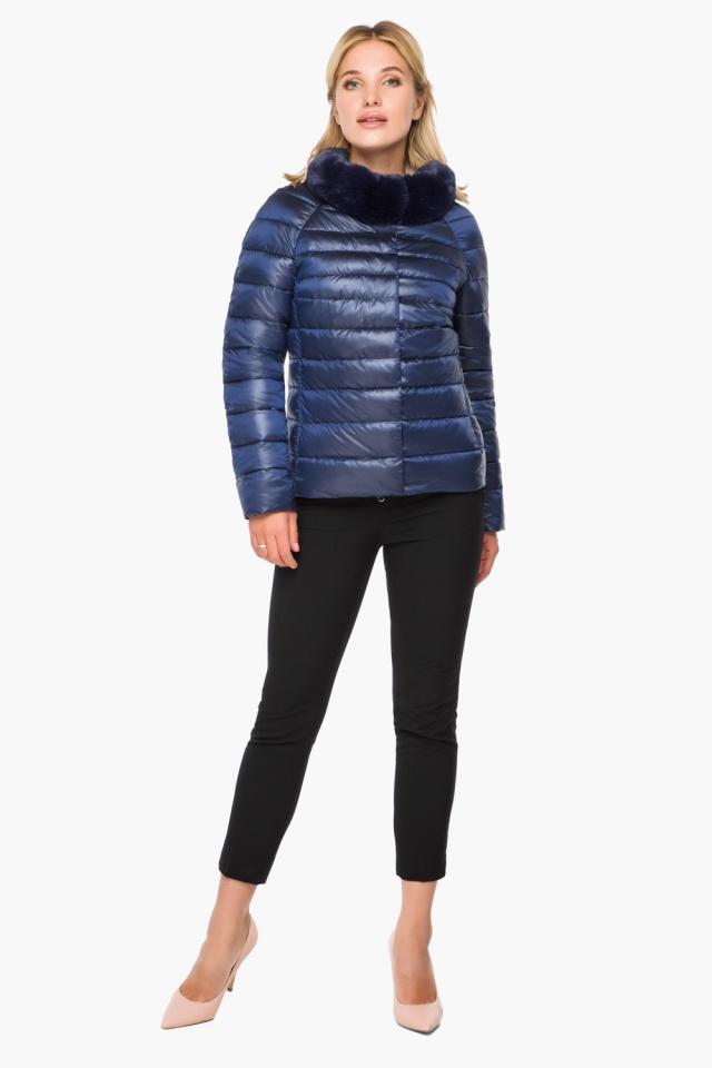 """Короткая женская осенне-весенняя куртка сапфировая модель 40267 Braggart """"Angel's Fluff"""" фото 2"""