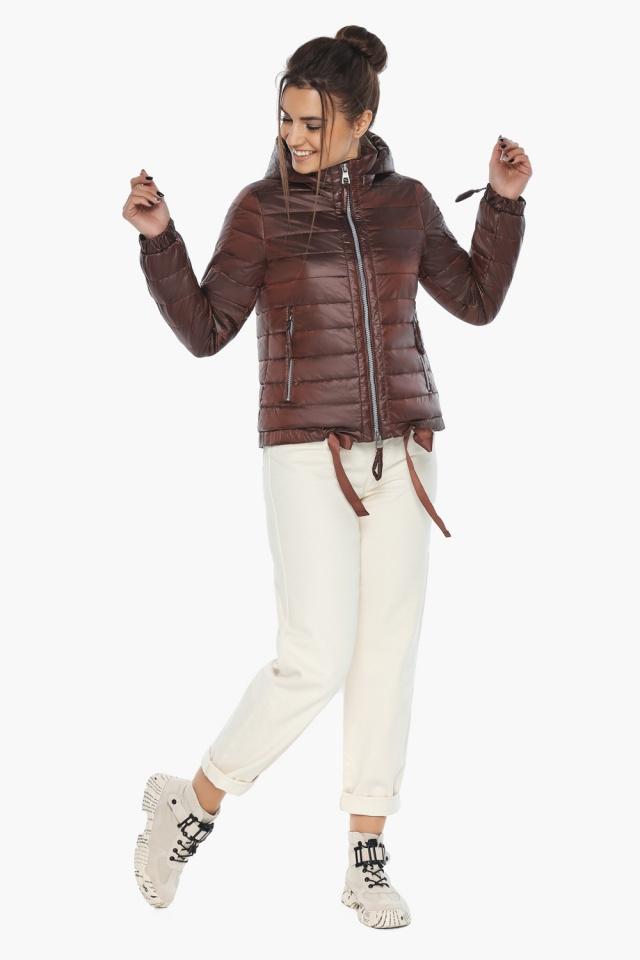 """Практичная куртка женская осенне-весенняя каштановая модель 62574 Braggart """"Angel's Fluff"""" фото 3"""