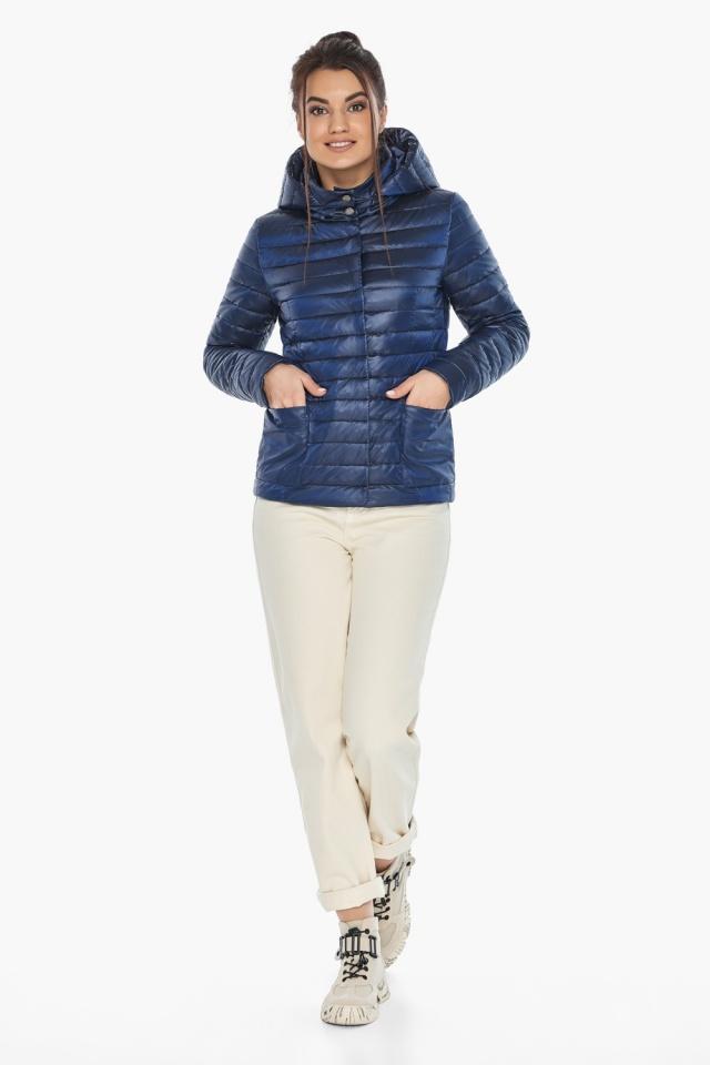 """Куртка сапфировая женская осенне-весенняя с внешними карманами модель 67510 Braggart """"Angel's Fluff"""" фото 2"""