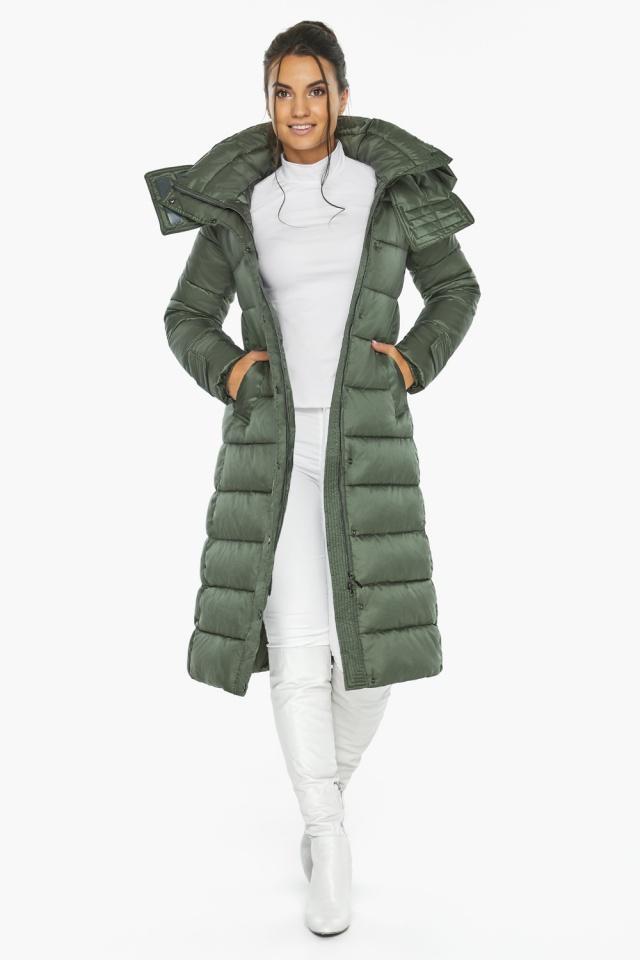 """Оливкова куртка з капюшоном жіноча модель 43110 Braggart """"Angel's Fluff"""" фото 5"""