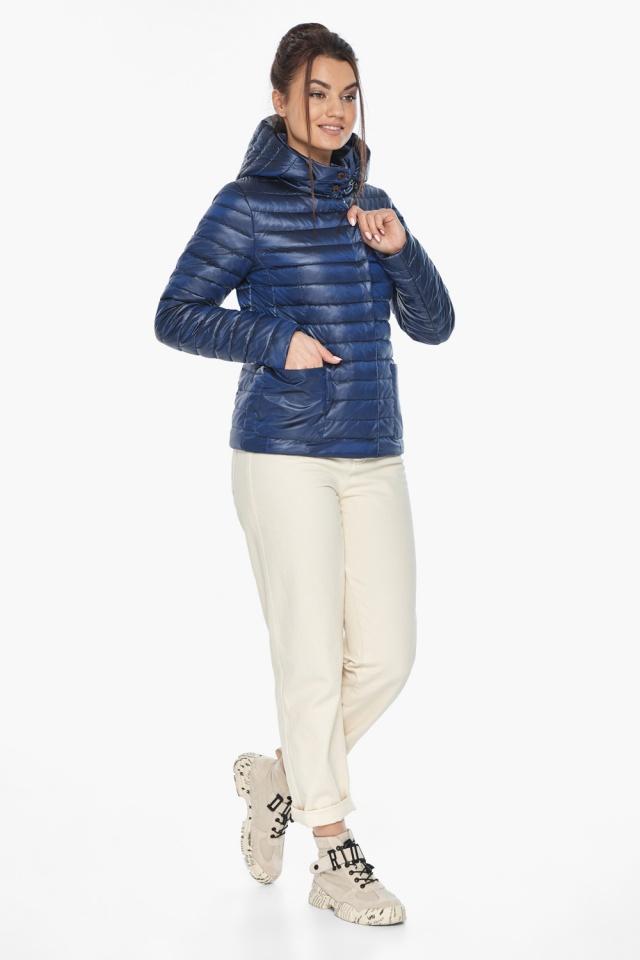 """Куртка сапфировая женская осенне-весенняя с внешними карманами модель 67510 Braggart """"Angel's Fluff"""" фото 4"""