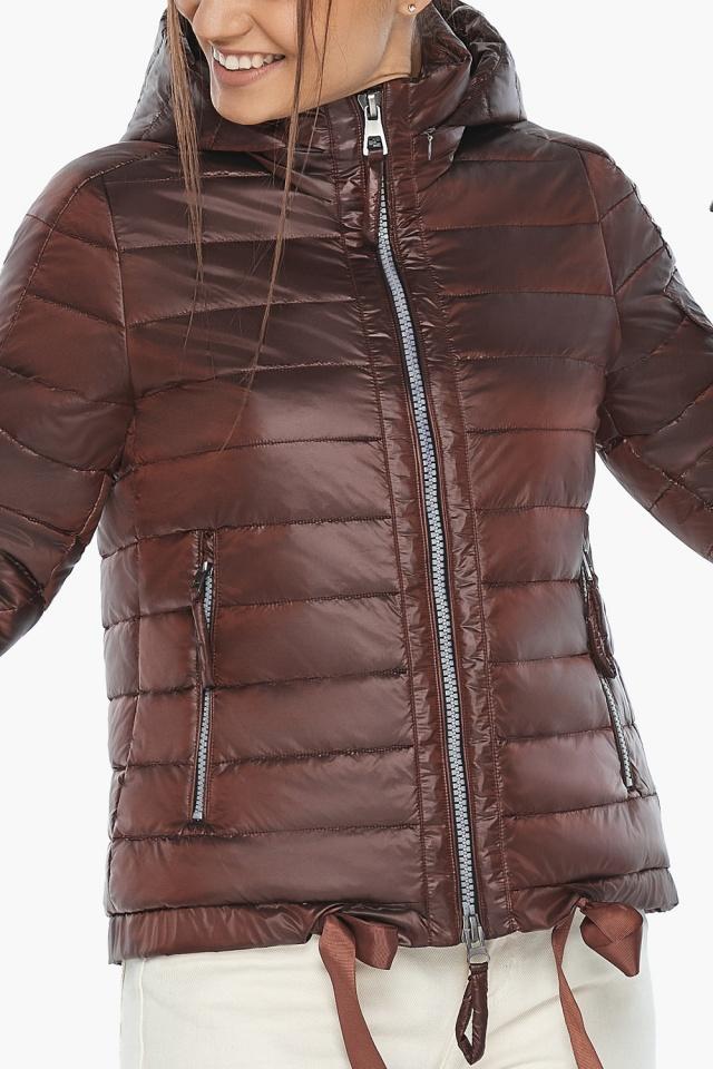"""Практичная куртка женская осенне-весенняя каштановая модель 62574 Braggart """"Angel's Fluff"""" фото 8"""