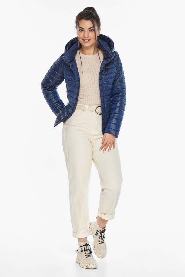 """Куртка сапфировая женская осенне-весенняя с внешними карманами модель 67510 Braggart """"Angel's Fluff"""" фото 3"""